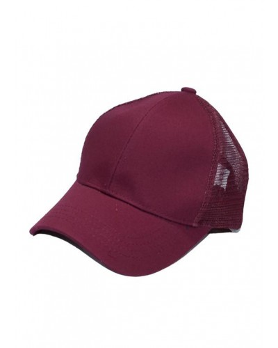 CC Brand Pony Cap w/Mesh in Burgundy by Hana