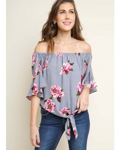 Ruffled Bell Sleeve Off Shoulder Floral Print Top in Cool Grey Mix by Umgee
