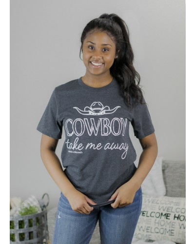 S/S Cowboy Take Me Away Tee in Deep Heather Grey by Lemon Lorraines