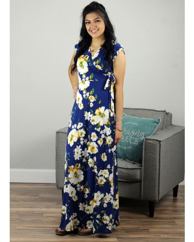 Dress in Navy/Yellow