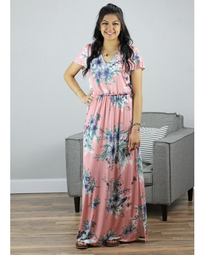 Maxi Dress in Peach Floral
