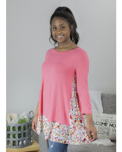 Tunic Dress with Floral Hem in Coral by Beeson River