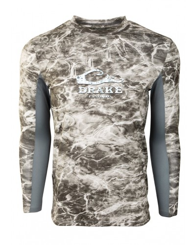 L/S  Shield-4 Mesh Back Crew Neck in Mossy Oak Mnta/Grey by Drake