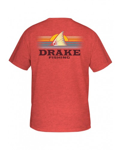 S/S Fishing Sunset Tee in Red Heather by Drake