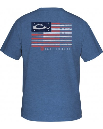 S/S Fishing American Flag Tee in Royal Heather by Drake