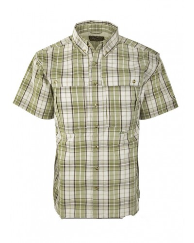 S/S Wingshooter Large Check Shirt in Medium Olive Plaid by Drake