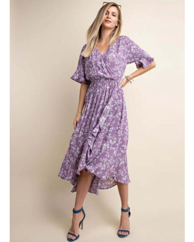 FlorSurplice Overlap High and Low Dress w/ruffle in Lavender