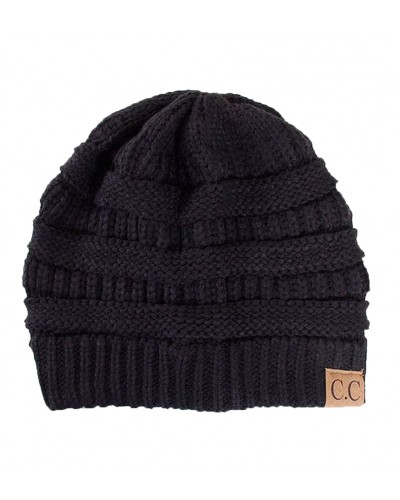 Thick Slouchy Knit Beanie in Black by Hana
