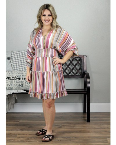 Multi Striped Tiered Dress in Camel Multi by La Miel