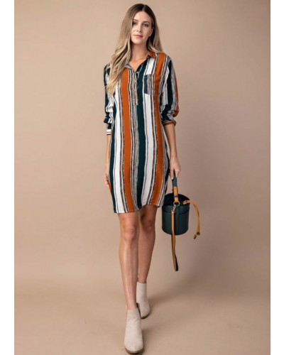 Multi Stripe Shift Dress in Rust/Green