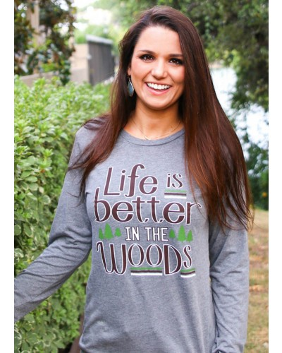 Life Is Better in the Woods L/S in Grey Triblend by ATX Mafia