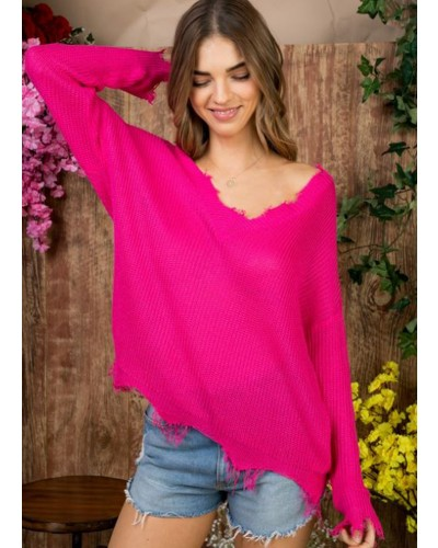 Frayed V Neck Sweater in Neon Fuschia by Main Strip