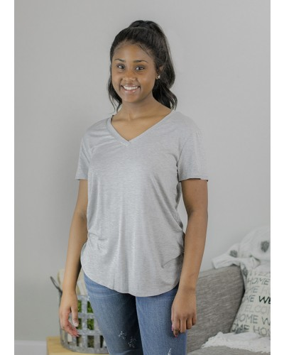''Modal'' Short Sleeve V-neck top in heather grey