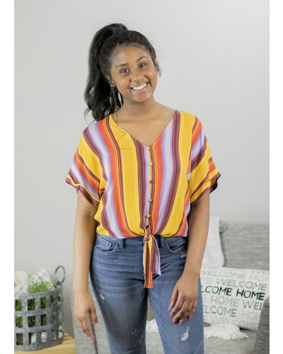 S/S  Multicolor Striped Tie Front Top in Multi Yellow by Miss Me