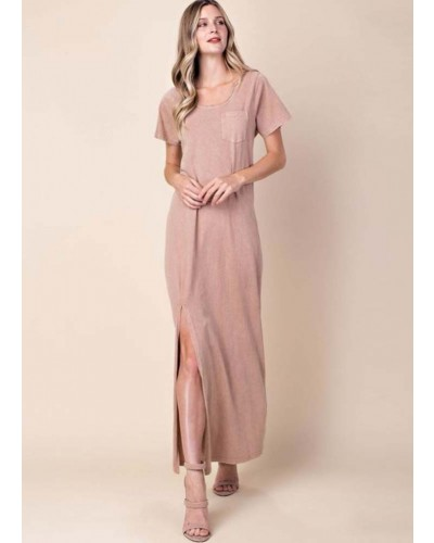 Mineral Washed Knit Maxi Dress in Mauve