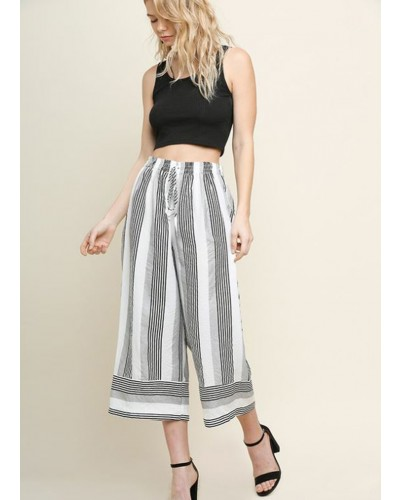 Striped High Waisted Wide Leg Cropped Pant in Black by Umgee