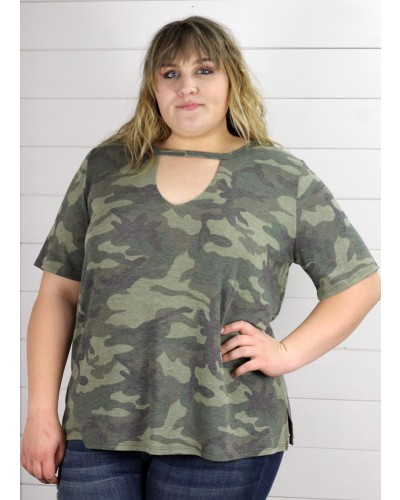 Camoflauge Keyhole Top in Olive by Jodifl
