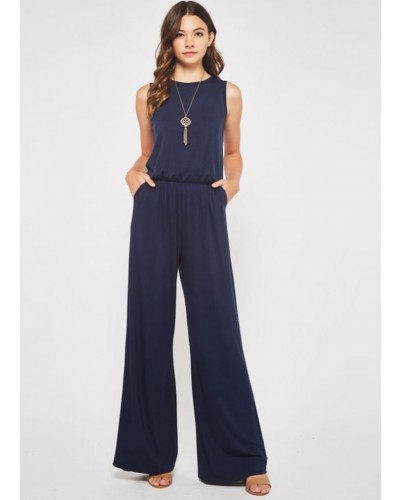 Sleeveless Jumpsuit in Navy by Beeson River