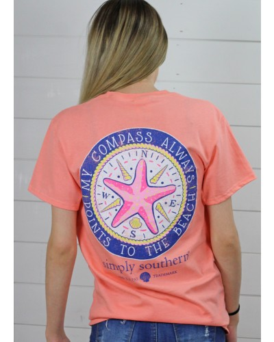 Preppy Compass Tee in Peachy by Simply Southern