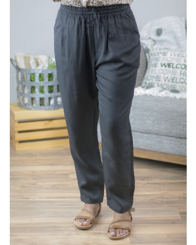 Drawstring Woven Pant in Black by Ellison