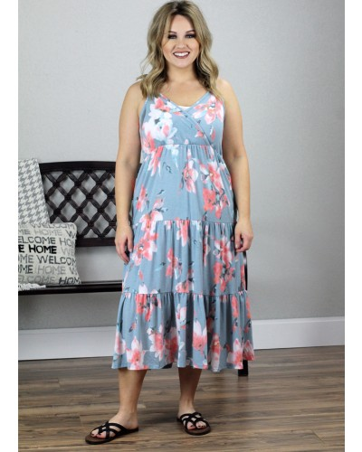 Tiered Floral Dress in Blue by Sweet Lovely