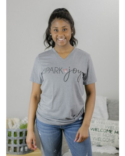 Spark Joy V-neck Tee in Grey by Pink Armadillo