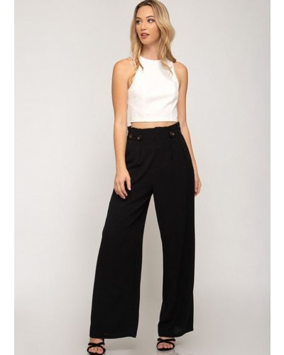 Woven Paperbag Palazzo pants in black