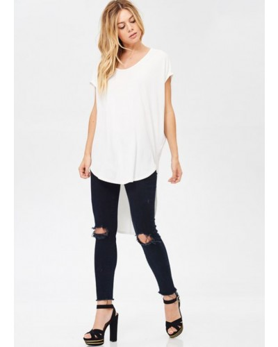 Dolman Sleeve Tunic with High Low Hem in White by White Birch