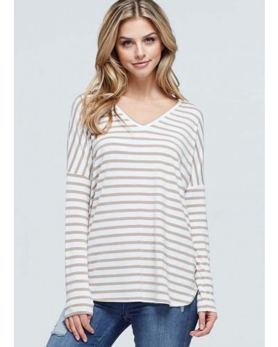 Long Dolman Sleeve Striped Top in Coco by White Birch