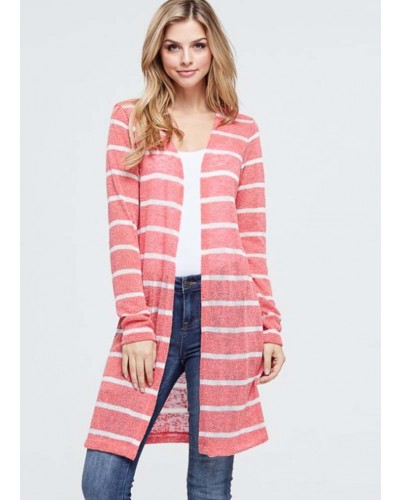 L/S Striped Cardigan featuring long body in coral by White Birch