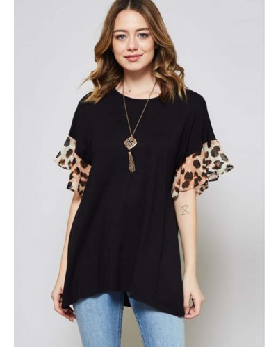 Leopard Ruffled Sleeve Top in Black/Animal by Beeson River