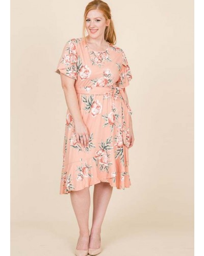Tulip Sleeve Floral Dress in Blush