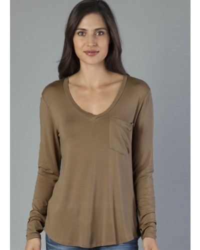 L/S Molly Pocket V-Neck Tee in Espresso by Another Love