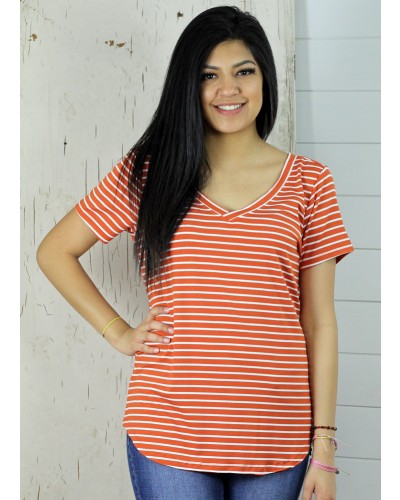 V Neck Emma Striped Tee in Tangerine/White by Another Love