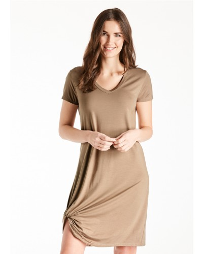 S/S V Neck Side Knot Dress in Light Mocha by Another Love