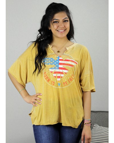 Free Spirit Burnout Tee in Mustard by Vintage Havana