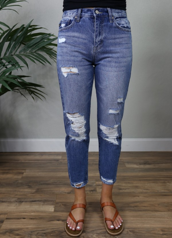 High Rise Mom Jeans In Medium By Kancan The Denim Shop