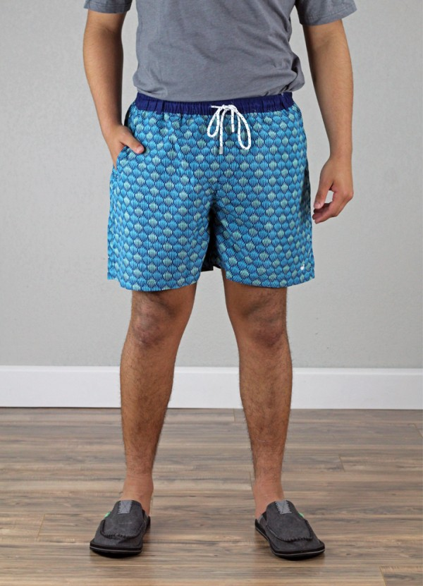 61a5993a09 Dockside Swim Trunk Seashell in Navy by Southern Marsh | The Denim Shop